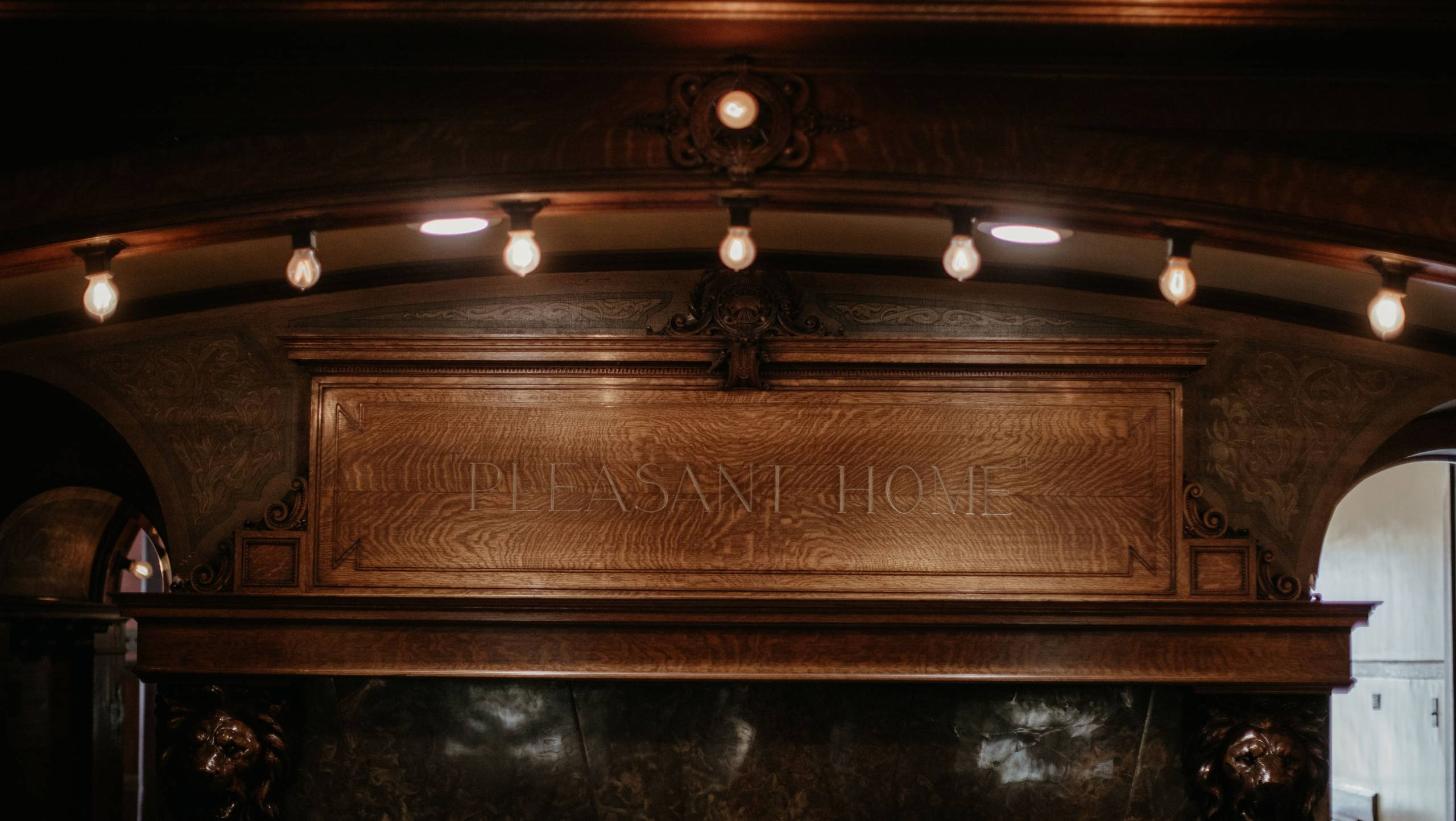 Pleasant Home Carved Fireplace Mantle in the Great Hall